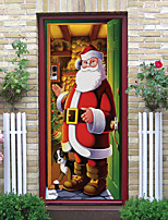 cheap -Christmas 2pcs Self-adhesive Door Stickers for Living Room Diy Decoration Home Waterproof Santa Claus Wall Stickers 77x200cm