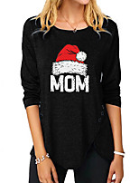 cheap -Women's Christmas Abstract Painting T shirt Graphic Text Long Sleeve Button Print Round Neck Basic Christmas Tops Regular Fit Blue Purple Khaki