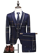 cheap -Men's Wedding Suits 3 pcs Notch Tailored Fit Single Breasted One-button Patch Pocket Checkered Cotton