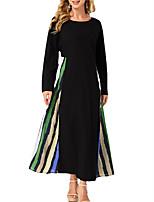 cheap -Women's A Line Dress Midi Dress Black Long Sleeve Striped Print Fall Round Neck Casual 2021 S M L XL XXL 3XL
