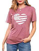 cheap -Women's T shirt Graphic Heart National Flag Print Round Neck Basic Vintage Tops Regular Fit Blue Blushing Pink Wine