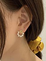 cheap -Women's Stud Earrings Earrings Geometrical Flower Shape Stylish Simple Elegant Sweet Imitation Pearl Earrings Jewelry Gold For Street Daily Holiday Work Festival 2pcs