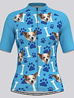 cheap -21Grams Women's Short Sleeve Cycling Jersey Summer Spandex Polyester Blue Sky Blue Dog 3D Funny Bike Top Mountain Bike MTB Road Bike Cycling Quick Dry Moisture Wicking Breathable Sports Clothing