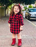 cheap -Kids Little Girls' Dress Plaid Red Knee-length Long Sleeve Cute Dresses Fall Regular Fit 1-5 Years