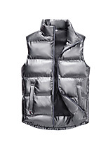 cheap -Men's Gilet Street Daily Going out Fall Winter Regular Coat Zipper Stand Collar Regular Fit Thermal Warm Breathable Sporty Casual Jacket Sleeveless Plain Pocket Blue Gray Black / Outdoor