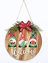 cheap -Christmas Wreath Wooden Doorplate Door Hanging Christmas Ornament Christmas Pendant