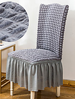 cheap -Stretch Kitchen Chair Cover Slipcover Bubble Lattice for Dinning Party Light Grey With Skirt Soft Comfortable Firm Elegant Chair Cover