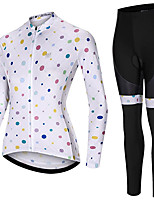 cheap -21Grams Women's Long Sleeve Cycling Jersey with Tights Spandex White Dot Bike Quick Dry Moisture Wicking Sports Grid / Plaid Mountain Bike MTB Road Bike Cycling Clothing Apparel / Stretchy / Athletic