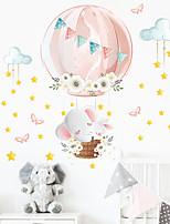 cheap -cartoon elephant rabbit hot air balloon children's bedroom porch wall beautification decorative wall stickers
