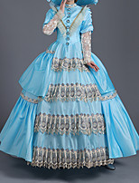 cheap -Ball Gown Elegant Vintage Halloween Quinceanera Dress High Neck Long Sleeve Floor Length Satin with Tassel Lace Insert 2021