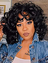 cheap -short curly synthetic hair wigs for black women fluffy wavy black natural looking wigs heat resistant wigs with wig cap