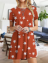 cheap -Women's A Line Dress Short Mini Dress Gray Green Red Short Sleeve Print Print Summer Round Neck Casual 2021 S M L XL XXL