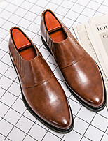 cheap -Men's Loafers & Slip-Ons Chelsea Boots Business British Party / Evening Daily PU Black Brown Fall Spring