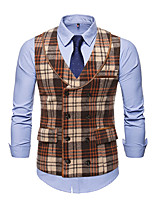 cheap -Men's Vest Gilet Business Work Fall Winter Regular Coat Notch lapel collar Regular Fit Thermal Warm Business Military Style Jacket Sleeveless Plaid / Check Color Block Pocket Patchwork Gray Coffee