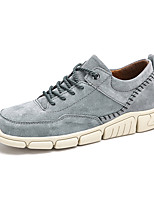 cheap -Men's Sneakers Lace up Crochet Leather Shoes Sporty Casual Classic Daily Outdoor Leather Cowhide Non-slipping Height-increasing Shock Absorbing Gray Black Brown Fall Winter