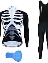 cheap -21Grams Men's Long Sleeve Cycling Jersey with Bib Tights Summer Spandex Polyester Black+White Skeleton Funny Bike Clothing Suit 3D Pad Quick Dry Moisture Wicking Breathable Back Pocket Sports Skeleton