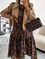 cheap -Women's A Line Dress Midi Dress Brown Beige Long Sleeve Print Print Fall V Neck Casual 2021 S M L XL XXL