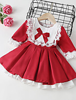 cheap -Toddler Little Girls' Dress Flower A Line Dress Wedding Special Occasion Ruffle Lace Trims Bow Red Above Knee Long Sleeve Sweet Dresses Christmas Fall Regular Fit 1-3 Years