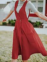 cheap -Women's A Line Dress Knee Length Dress Red Sleeveless Solid Color Pocket Fall V Neck Casual 2021 S M L XL XXL 3XL