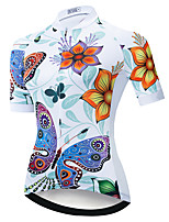 cheap -21Grams Women's Short Sleeve Cycling Jersey Summer Spandex Polyester White Butterfly 3D Floral Botanical Bike Top Mountain Bike MTB Road Bike Cycling Quick Dry Moisture Wicking Breathable Sports