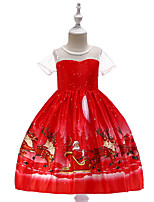 cheap -Kids Little Girls' Dress Solid Colored Santa Claus Elk Party Print Red Knee-length Short Sleeve Princess Sweet Dresses Christmas Fall Winter