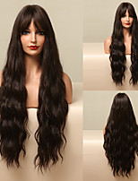 cheap -HAIR CUBE Long Dark Brown Water Wave Synthetic Wigs for Women Natyral Hair Wigs with Said Bangs Daily Wigs Heat Resistant Cosplay