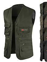 cheap -Men's Vest Gilet Sport Daily Spring Summer Short Coat Regular Fit Windproof Lightweight Breathable Casual Jacket Sleeveless Solid Color Full Zip Pocket Dark Grey Army Green Khaki