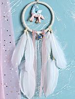 cheap -Boho Dream Catcher Handmade Gift Wall Hanging Decor Art Ornament Craft Unicorn Silk Ribbon For Kids Bedroom Wedding Festival