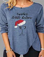 cheap -Women's Christmas 3D Printed T shirt Letter Long Sleeve Print Round Neck Basic Tops Regular Fit Blue