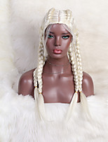 cheap -halloweencostumes Synthetic Wig 24 Plaited Braid Wig 24 inch Creamy-white Synthetic Hair 24 inch Women's Cute Soft Middle Part White