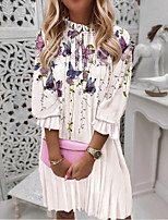 cheap -Women's A Line Dress Knee Length Dress Purple Blushing Pink Dusty Rose Red Light Green Long Sleeve Floral Print Ruched Print Fall Winter Round Neck Casual Lantern Sleeve 2021 S M L XL XXL 3XL