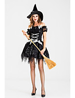 cheap -Witch Dress Cosplay Costume Adults' Women's Halloween Halloween Halloween Festival / Holiday Terylene Black Women's Easy Carnival Costumes Solid Color / Hat