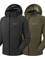 cheap -Men's Hoodie Jacket Hiking Jacket Hiking Windbreaker Outdoor Thermal Warm Waterproof Windproof Lightweight Outerwear Trench Coat Top Skiing Fishing Climbing Military color Dark Gray / Breathable