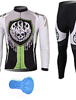 cheap -21Grams Men's Long Sleeve Cycling Jersey with Tights Spandex Polyester White Skull Funny Bike Clothing Suit 3D Pad Quick Dry Moisture Wicking Breathable Back Pocket Sports Patterned Mountain Bike MTB