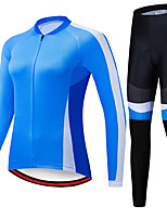 cheap -21Grams Women's Long Sleeve Cycling Jersey with Tights Spandex Polyester Blue Patchwork Funny Bike Clothing Suit 3D Pad Quick Dry Moisture Wicking Breathable Back Pocket Sports Patchwork Mountain
