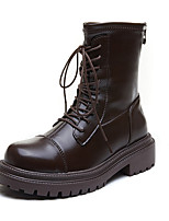 cheap -Women's Boots Chunky Heel Round Toe Booties Ankle Boots Daily PU Lace-up Solid Colored Black Brown / Booties / Ankle Boots