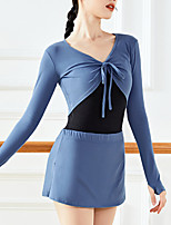 cheap -Gymnastics Suits Women's Shorts Crop Top Dancewear 2 in 1 Thumbhole Spandex Cotton High Elasticity Quick Dry Stretch Breathable Solid Color Long Sleeve Training Competition Ballet Modern Dance