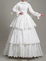 cheap -Ball Gown Elegant Vintage Halloween Quinceanera Dress High Neck Long Sleeve Floor Length Satin with Pleats Ruffles 2021