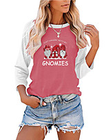 cheap -Women's Christmas Painting T shirt Graphic Color Block Text Long Sleeve Print Round Neck Basic Christmas Tops Regular Fit Blushing Pink Gray Green