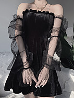 cheap -A-Line Gothic Sexy Halloween Party Wear Dress Strapless Long Sleeve Short / Mini Cotton with Pleats Ruffles 2021