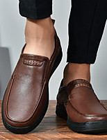 cheap -Men's Loafers & Slip-On Daddy's Shoes Leather Shoes Comfort Loafers Business Casual Classic Daily Party & Evening Leather Nappa Leather Non-slipping Shock Absorbing Wear Proof Black Brown Fall Winter