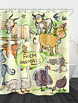 cheap -Painting Small Animals Printed Waterproof Fabric Shower Curtain Bathroom Home Decoration Covered Bathtub Curtain Lining Including Hooks.