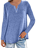 cheap -Women's T shirt Plain Long Sleeve Pocket Button V Neck Basic Tops Regular Fit Blue Purple Wine