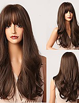 cheap -22 inch dark brown wig with bangs natural long wavy ombre brown heat-resistant synthetic laceless wigs suitable for women appointment and daily parties cosplay wigs