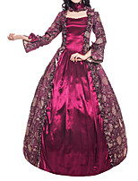 cheap -Ball Gown Elegant Vintage Halloween Quinceanera Dress Square Neck Long Sleeve Floor Length Satin with Bow(s) Ruffles Pattern / Print 2021