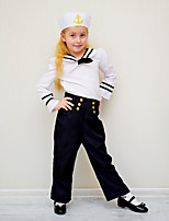 cheap -Sailor / Navy Cosplay Costume Kid's Girls' Halloween Halloween Halloween Festival / Holiday Polyster White Easy Carnival Costumes Solid Color / Hat