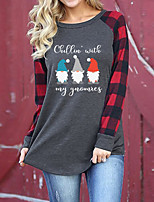 cheap -Women's Christmas Painting T shirt Plaid Graphic Text Long Sleeve Print Round Neck Basic Christmas Tops Regular Fit Green Red / 3D Print