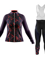 cheap -21Grams Women's Long Sleeve Cycling Jersey with Bib Tights Summer Spandex Polyester Dark Purple 3D Geometic Funny Bike Clothing Suit 3D Pad Quick Dry Moisture Wicking Breathable Back Pocket Sports 3D