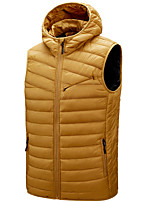 cheap -Men's Vest Gilet Street Daily Fall Winter Regular Coat Zipper Hoodie Regular Fit Thermal Warm Breathable Casual Jacket Sleeveless Solid Color Quilted Pocket Blue Wine Ginger
