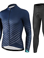 cheap -21Grams Men's Long Sleeve Cycling Jersey with Tights Summer Spandex Navy Stripes Bike Quick Dry Moisture Wicking Sports Stripes Mountain Bike MTB Road Bike Cycling Clothing Apparel / Stretchy